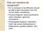 how can emotions be recognized