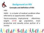 background on hiv