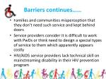 barriers continues