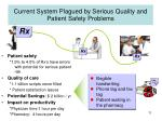 current system plagued by serious quality and patient safety problems