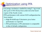 optimization using pfa15