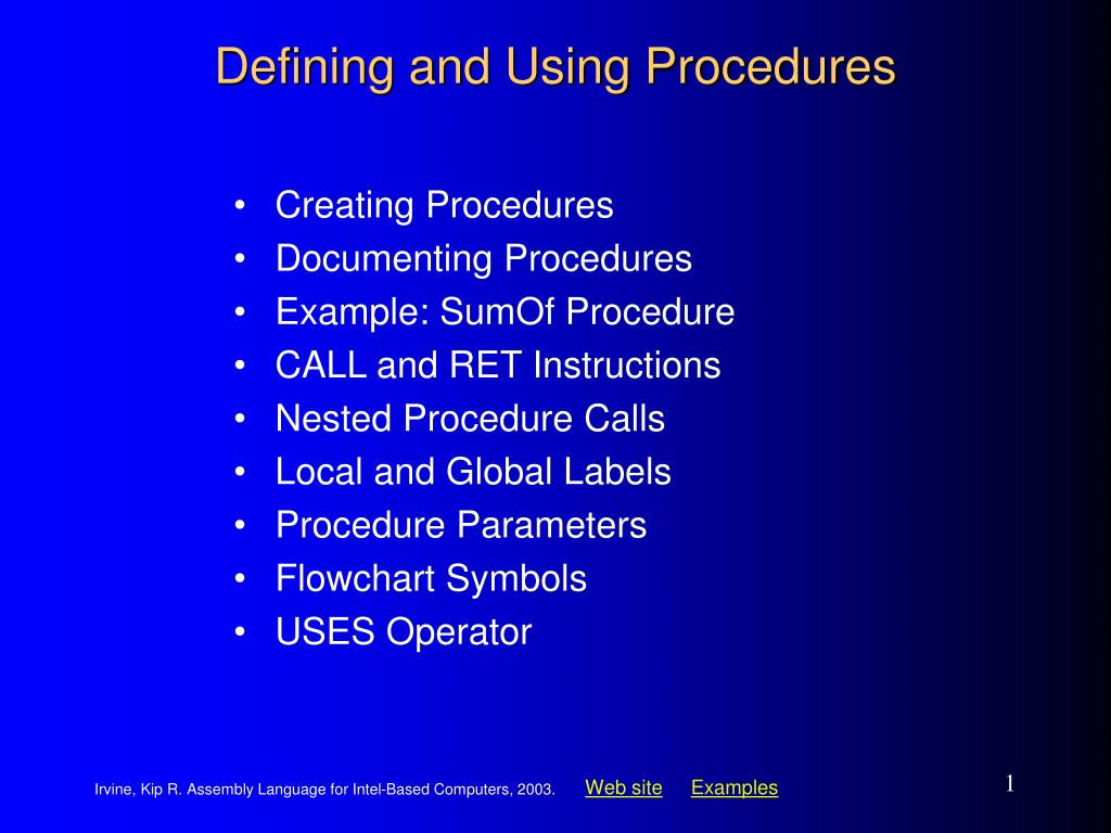 defining and using procedures l.