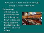 no one is above the law and all enjoy access to the law