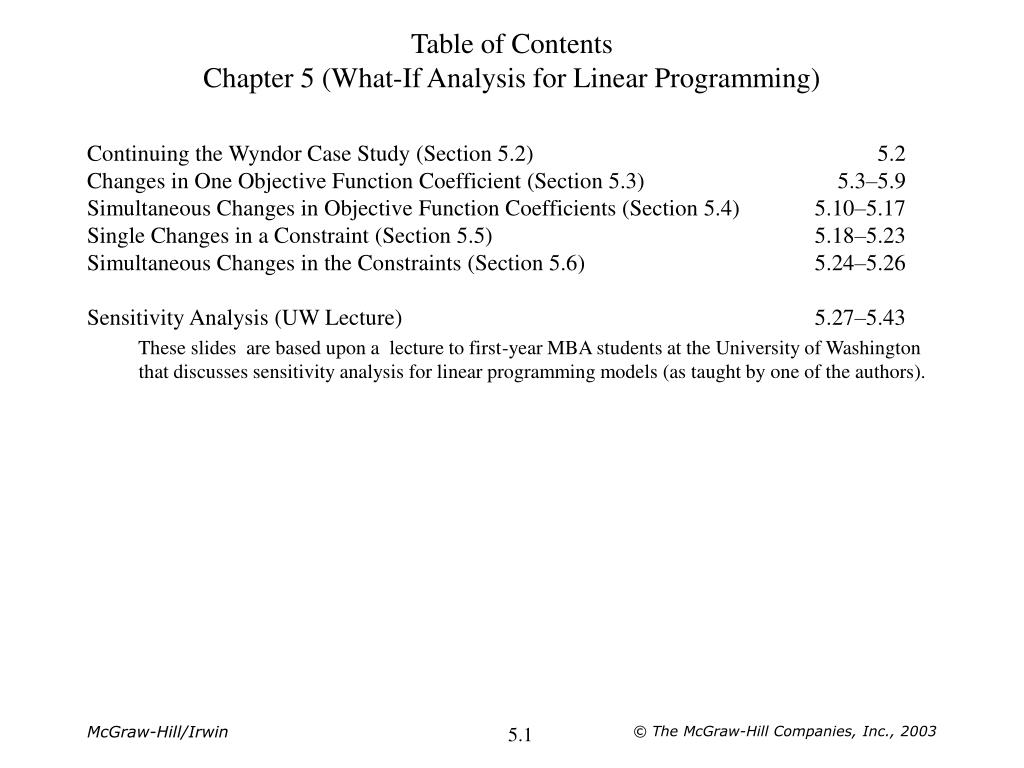 table of contents chapter 5 what if analysis for linear programming l.