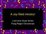 a joy filled ministry