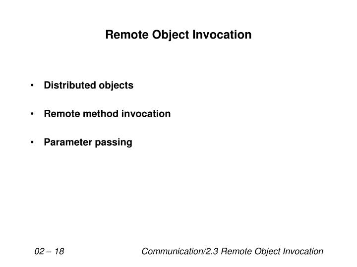 remote object invocation n.