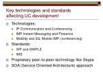 key technologies and standards affecting uc development
