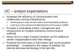 uc analyst expectations