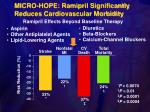 micro hope ramipril significantly reduces cardiovascular morbidity
