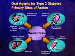 oral agents for type 2 diabetes primary sites of action