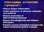 ppar gamma activators glitazones