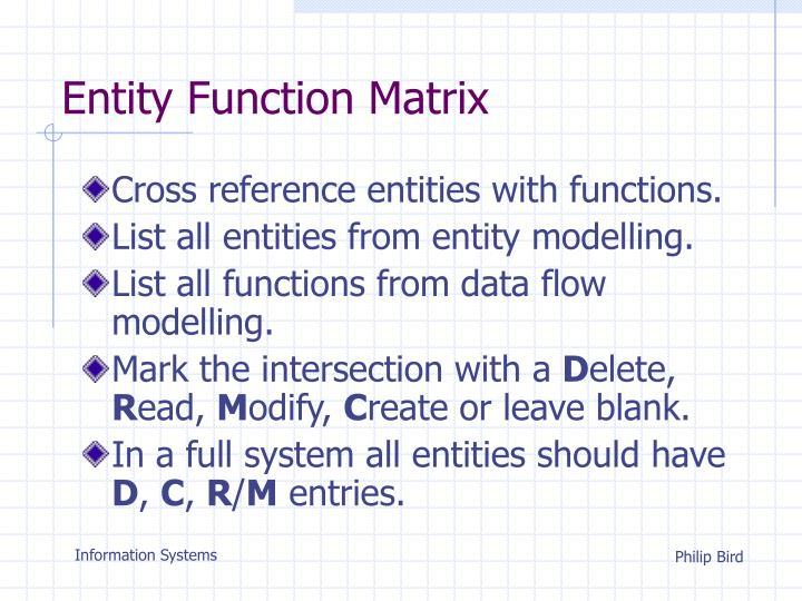 Entity function matrix