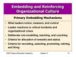 embedding and reinforcing organizational culture