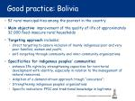 good practice bolivia