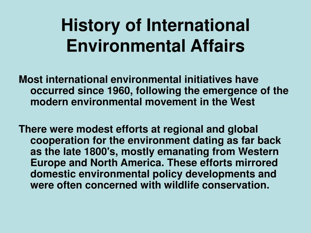 history of international environmental affairs l.