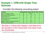 example 1 cpm with single time estimate