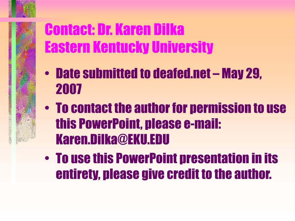 contact dr karen dilka eastern kentucky university l.