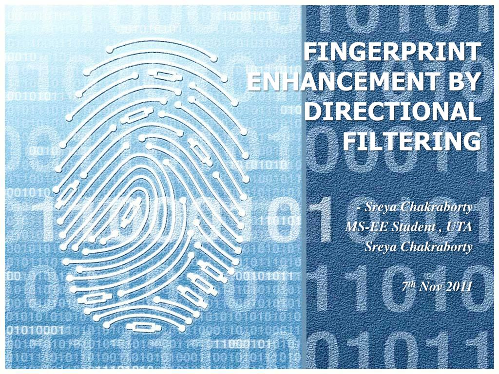 fingerprint enhancement by directional filtering l.