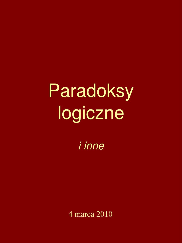 paradoksy logiczne l.
