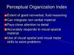 perceptual organization index