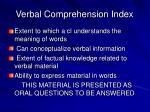verbal comprehension index
