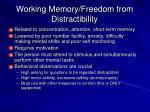 working memory freedom from distractibility