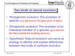 two kinds of natural evolution