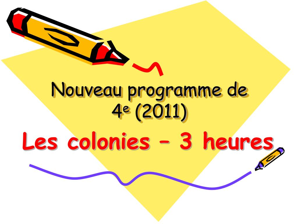 nouveau programme de 4 e 2011 l.