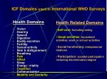 icf domains used in international who surveys