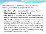 the contribution of higher education to european recovery and to the development of europe