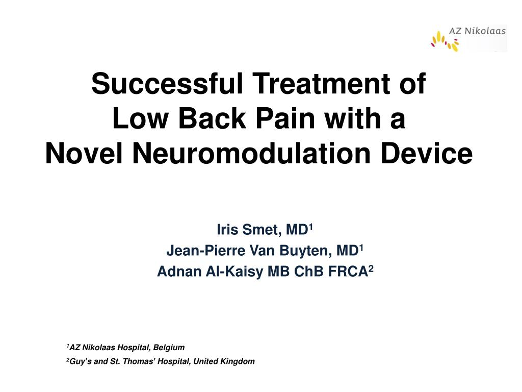 successful treatment of low back pain with a novel neuromodulation device l.