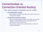 connectionless vs connection oriented routing