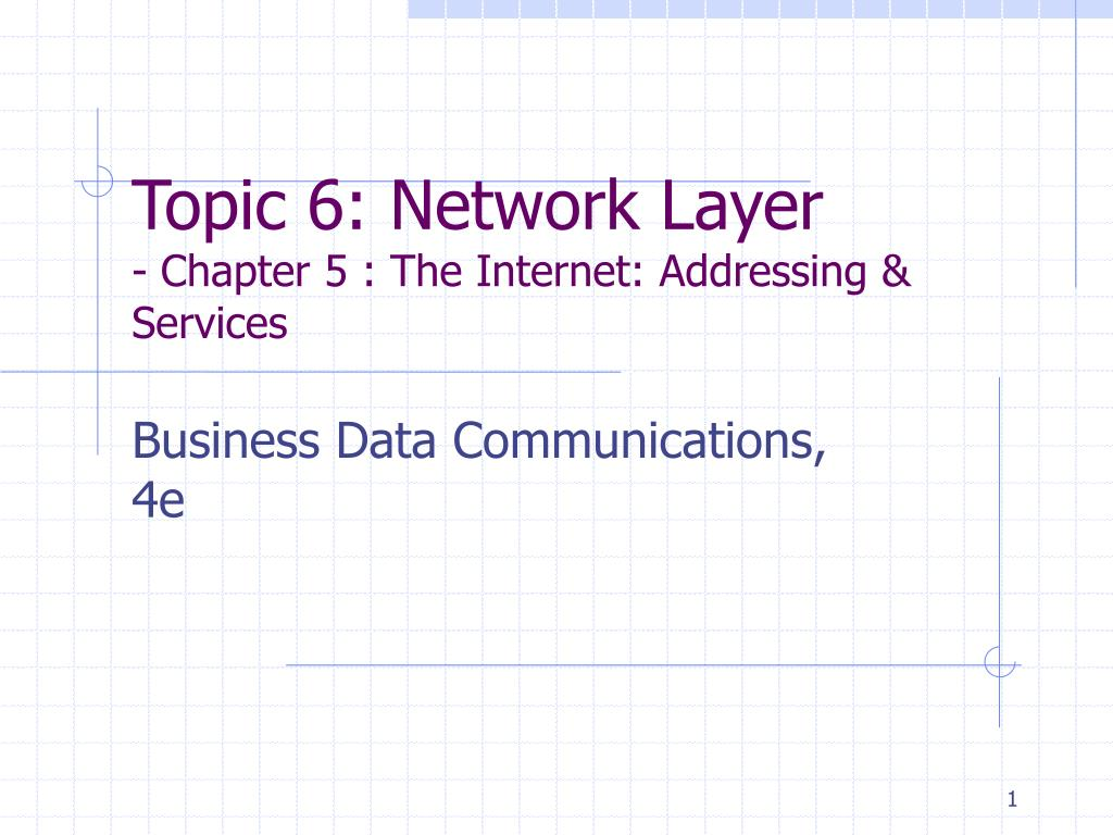 topic 6 network layer chapter 5 the internet addressing services l.