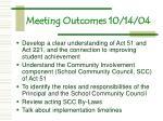 meeting outcomes 10 14 04