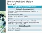 who is a medicare eligible provider11