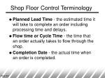 shop floor control terminology8