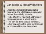 language literacy barriers