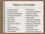 topics to consider