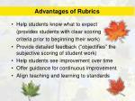 advantages of rubrics