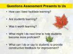 questions assessment presents to us