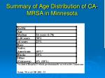 summary of age distribution of ca mrsa in minnesota