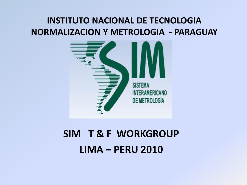 instituto nacional de tecnologia normalizacion y metrologia paraguay l.
