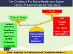 key challenge for entire healthcare sector focus on cost versus clinical value