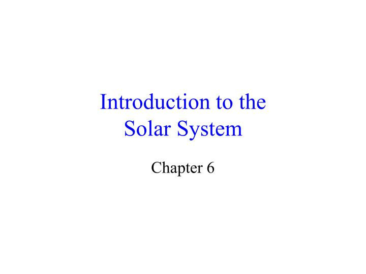 introduction to the solar system n.