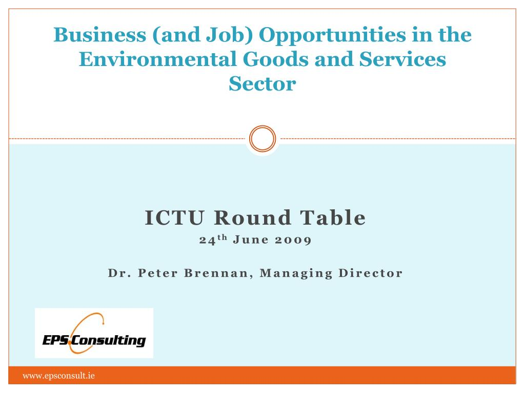 business and job opportunities in the environmental goods and services sector l.