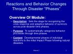 reactions and behavior changes through disaster phases