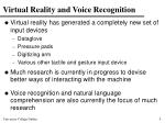 virtual reality and voice recognition