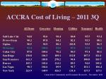 accra cost of living 2011 3q