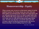 homeownership equity