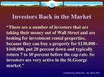 investors back in the market